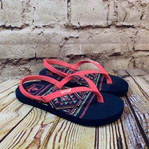 Reef Little Girls Ankle Strap Flip Flops Size 7/8